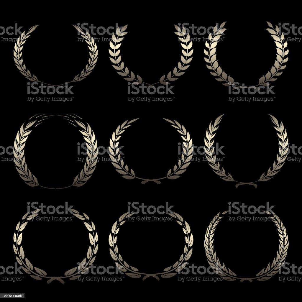 Vector gold award wreaths, laurel on black background vector art illustration