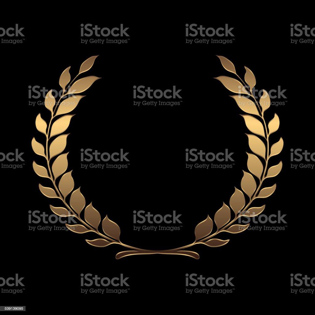 Vector gold award wreaths, laurel on black background vector vector art illustration
