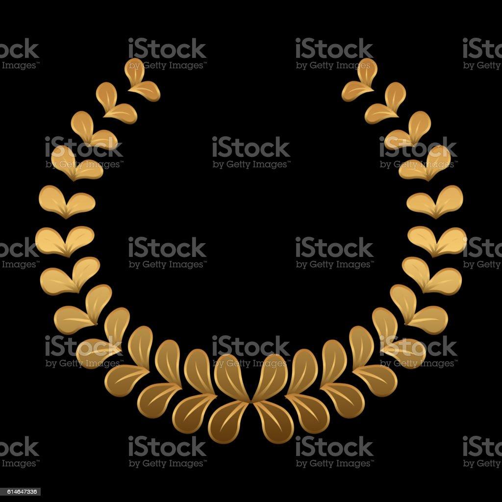Vector gold award wreaths, laurel on black background. Vector vector art illustration