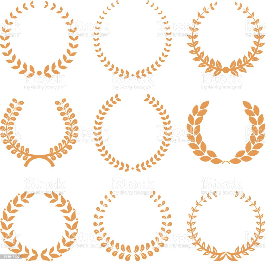 Vector gold award wreaths, laurel on white background. Vector vector art illustration
