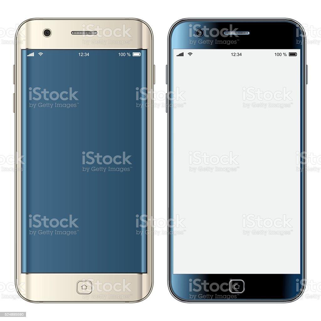 Vector gold & black mobile phones vector art illustration