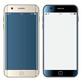 Vector gold & black mobile phones