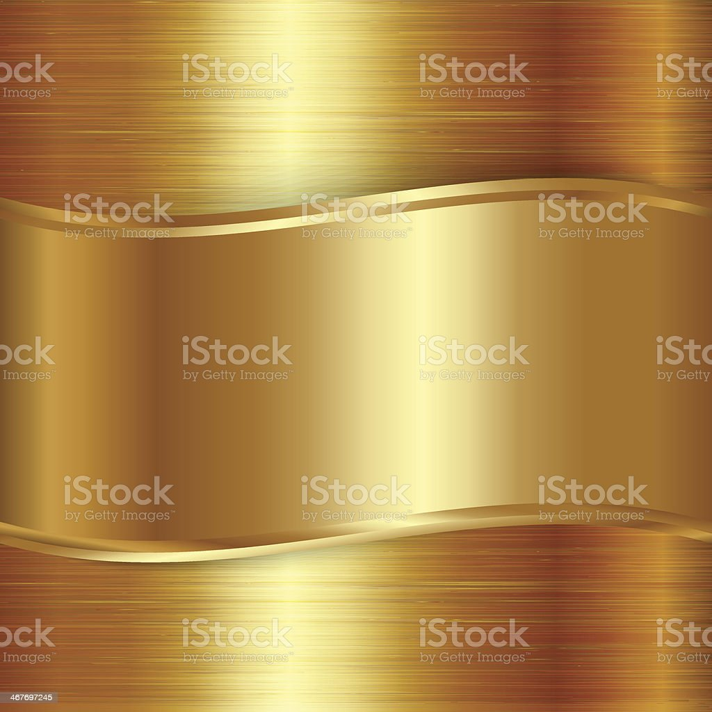 Vector gold  brushed metallic plaque background vector art illustration