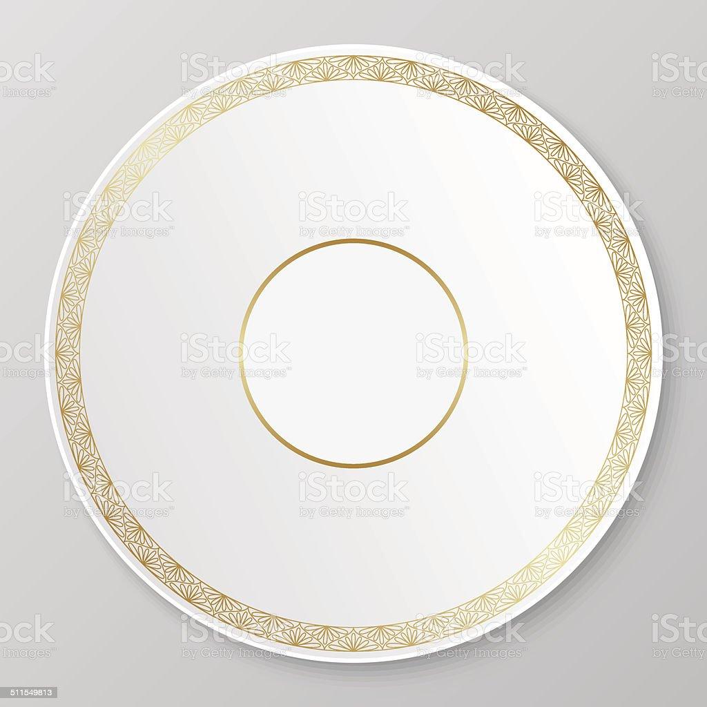 Vector gold decorative plate. vector art illustration