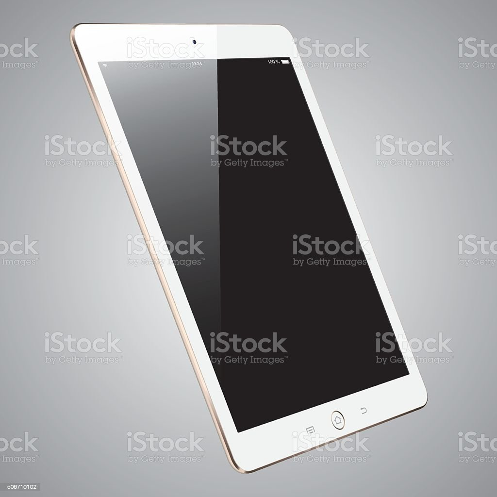 Vector gold digital tablet with blank screen stock photo