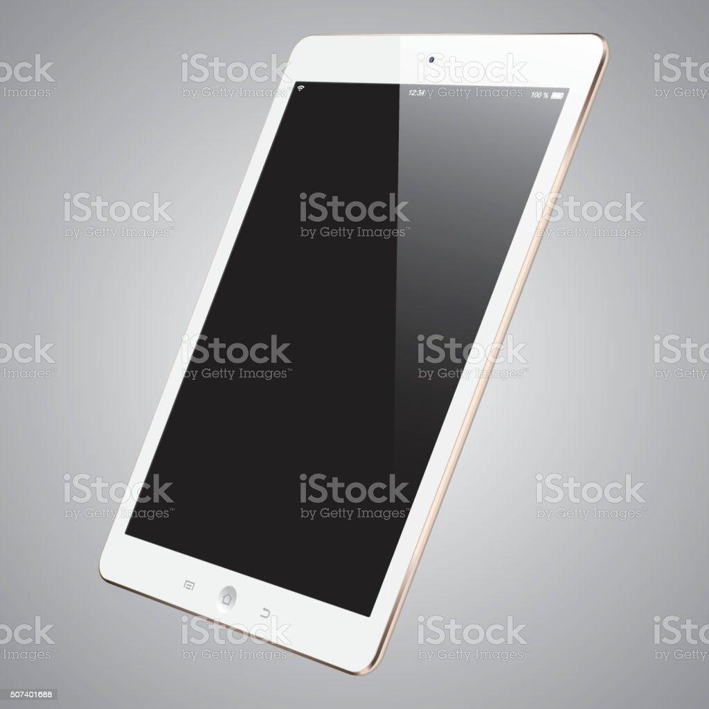 Vector Gold Digital Tablet with Blank Screen vector art illustration