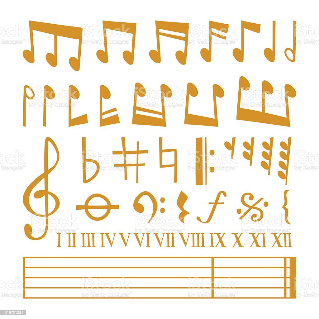 Vector gold icons set music note melody symbols vector illustration vector art illustration