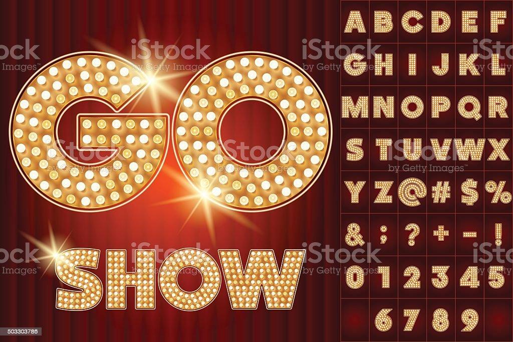 Vector gold lamp alphabet in cabaret show style vector art illustration