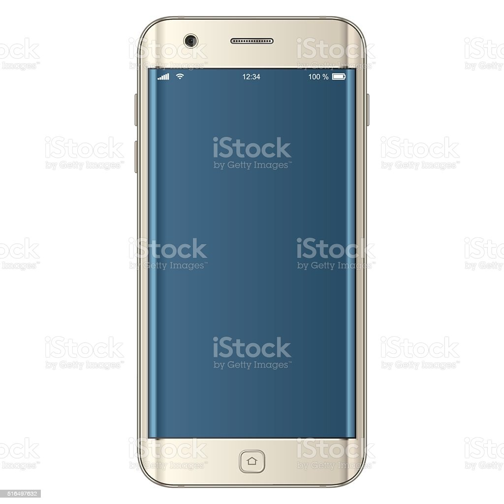 Vector gold mobile phone vector art illustration