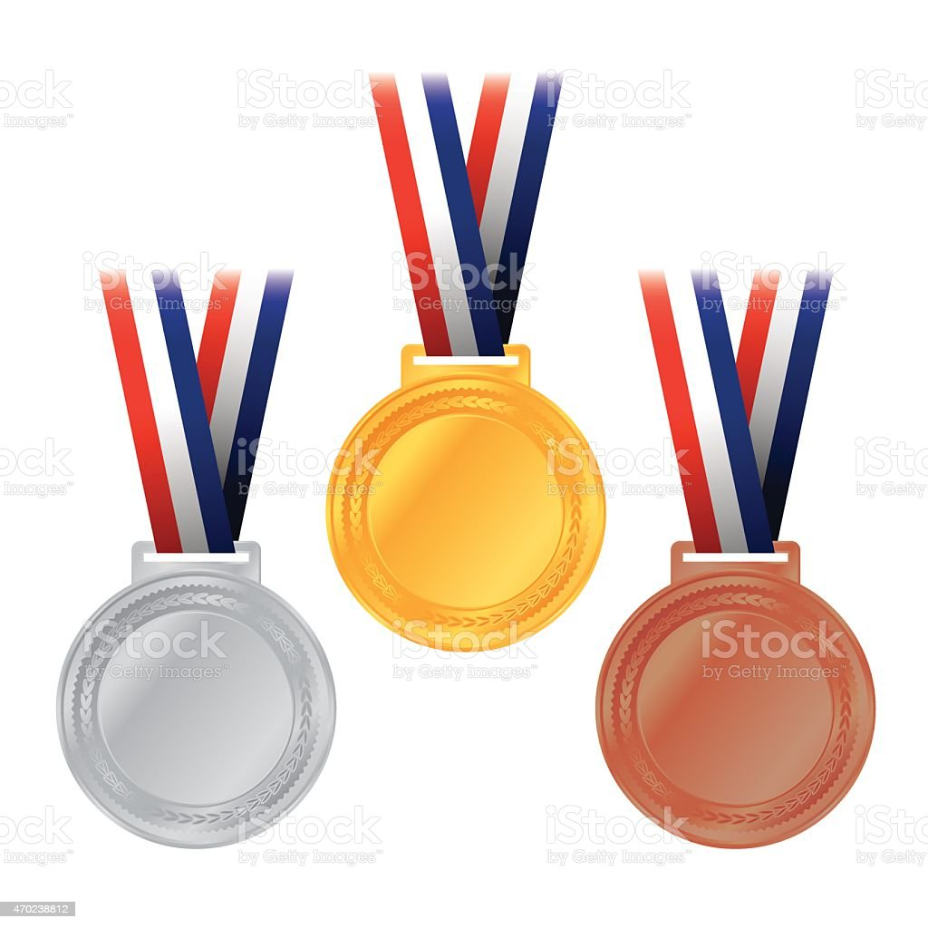 Vector Gold, Silver, and Bronze Medals Illustration vector art illustration