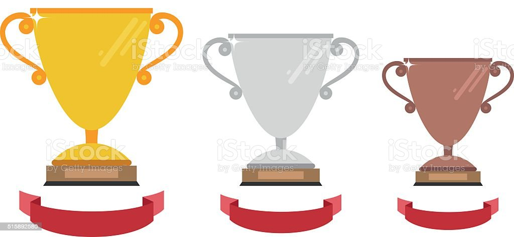Vector gold, silver and bronze winners cup with ribbon. vector art illustration