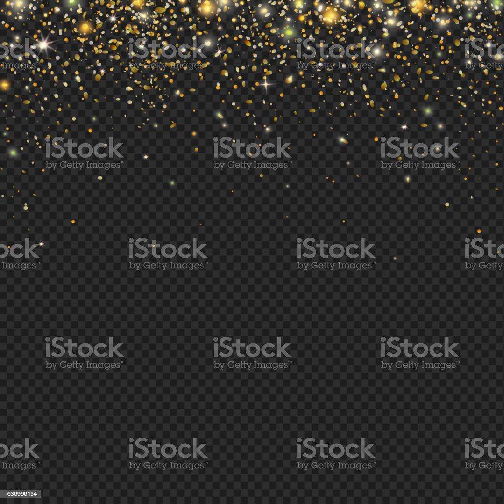 Vector gold snow glitter particles confetti texture vector art illustration