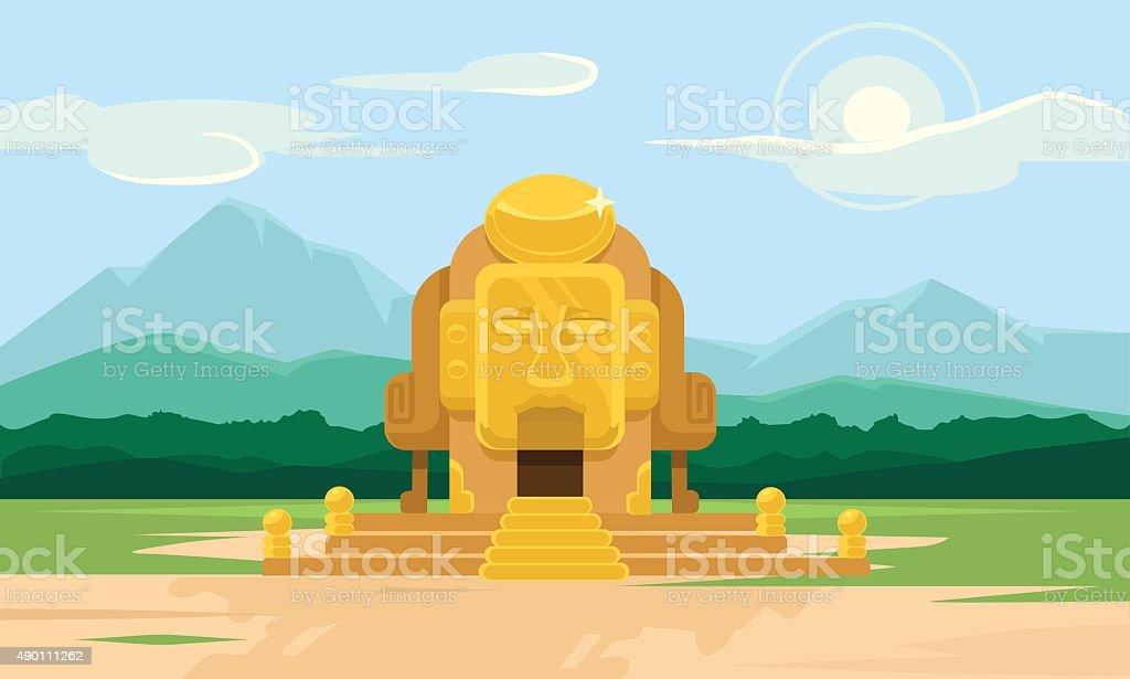 Vector gold tomb flat illustration vector art illustration