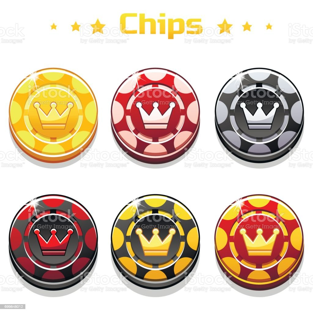 Vector golden, black and red Poker Chips on the white background vector art illustration