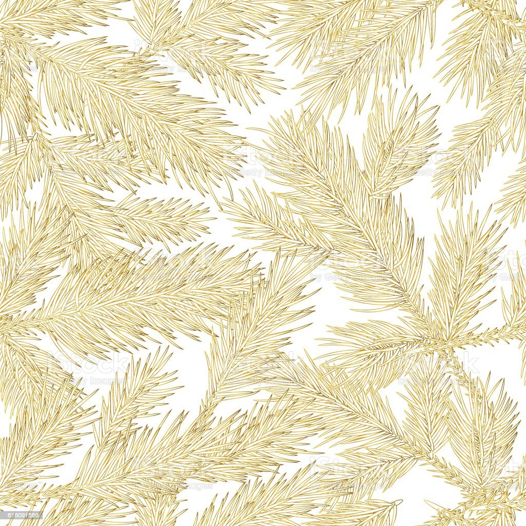 vector golden fir branches seamless pattern gold and white