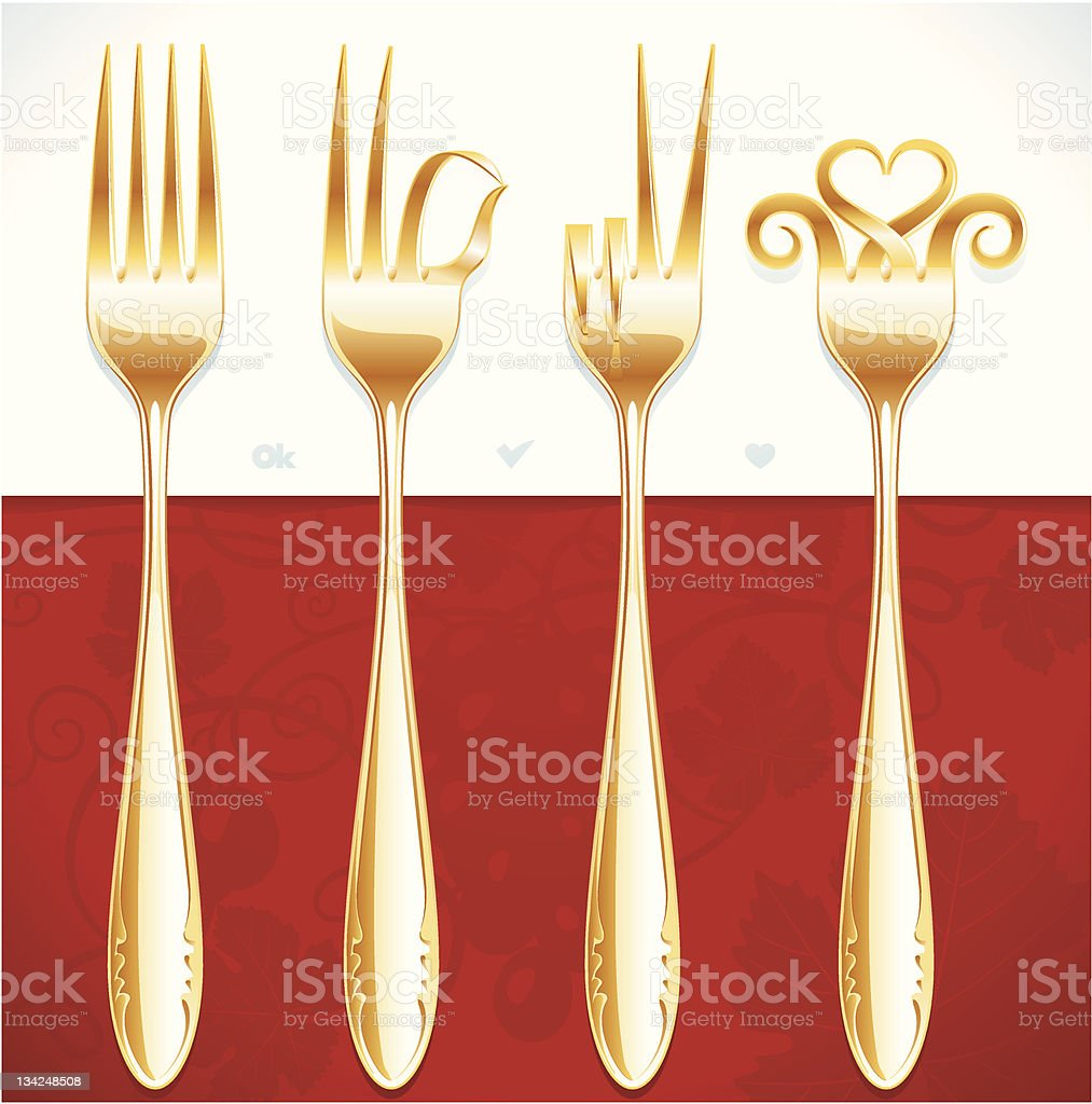 Vector golden fork gestures royalty-free stock vector art
