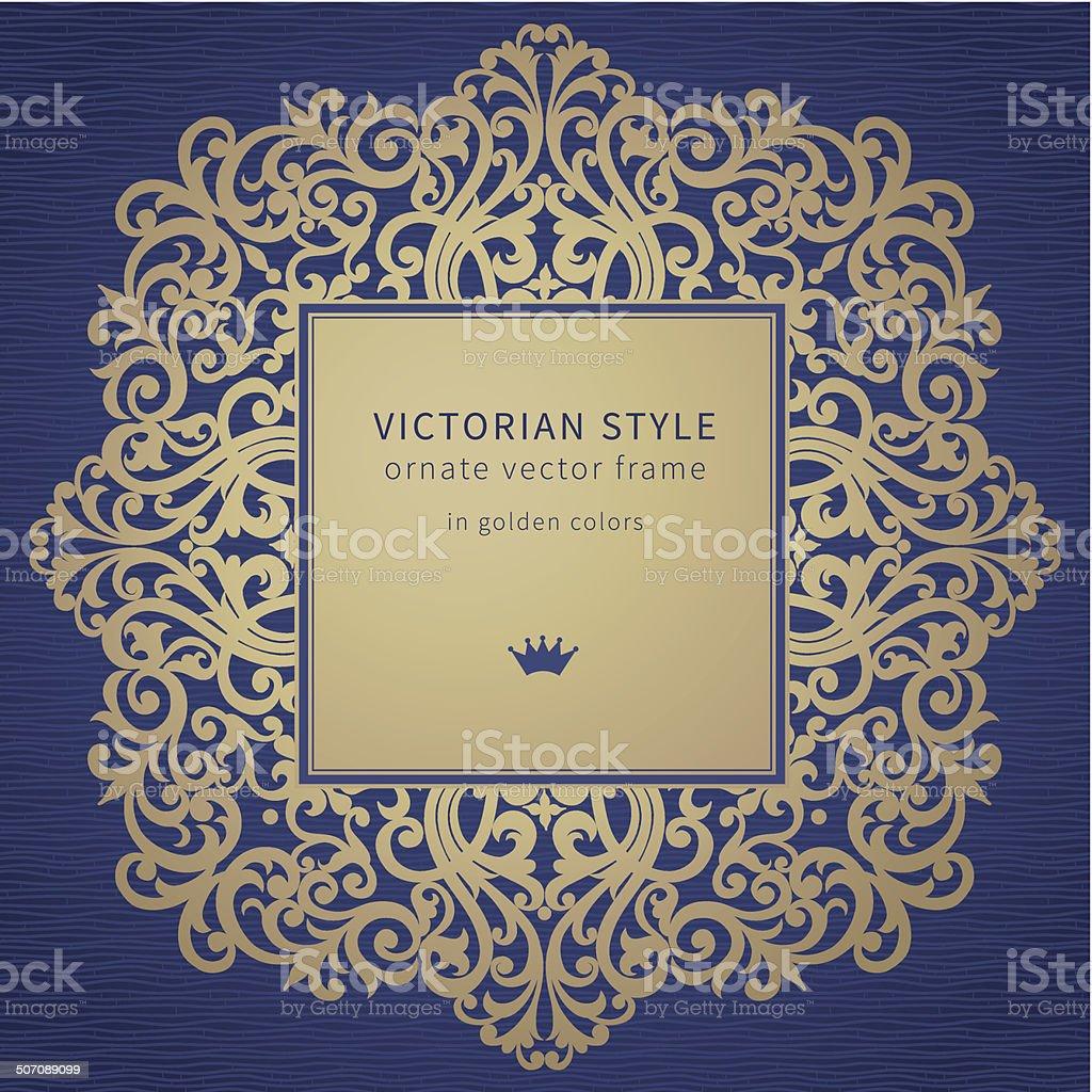 Vector golden frame in Victorian style. vector art illustration