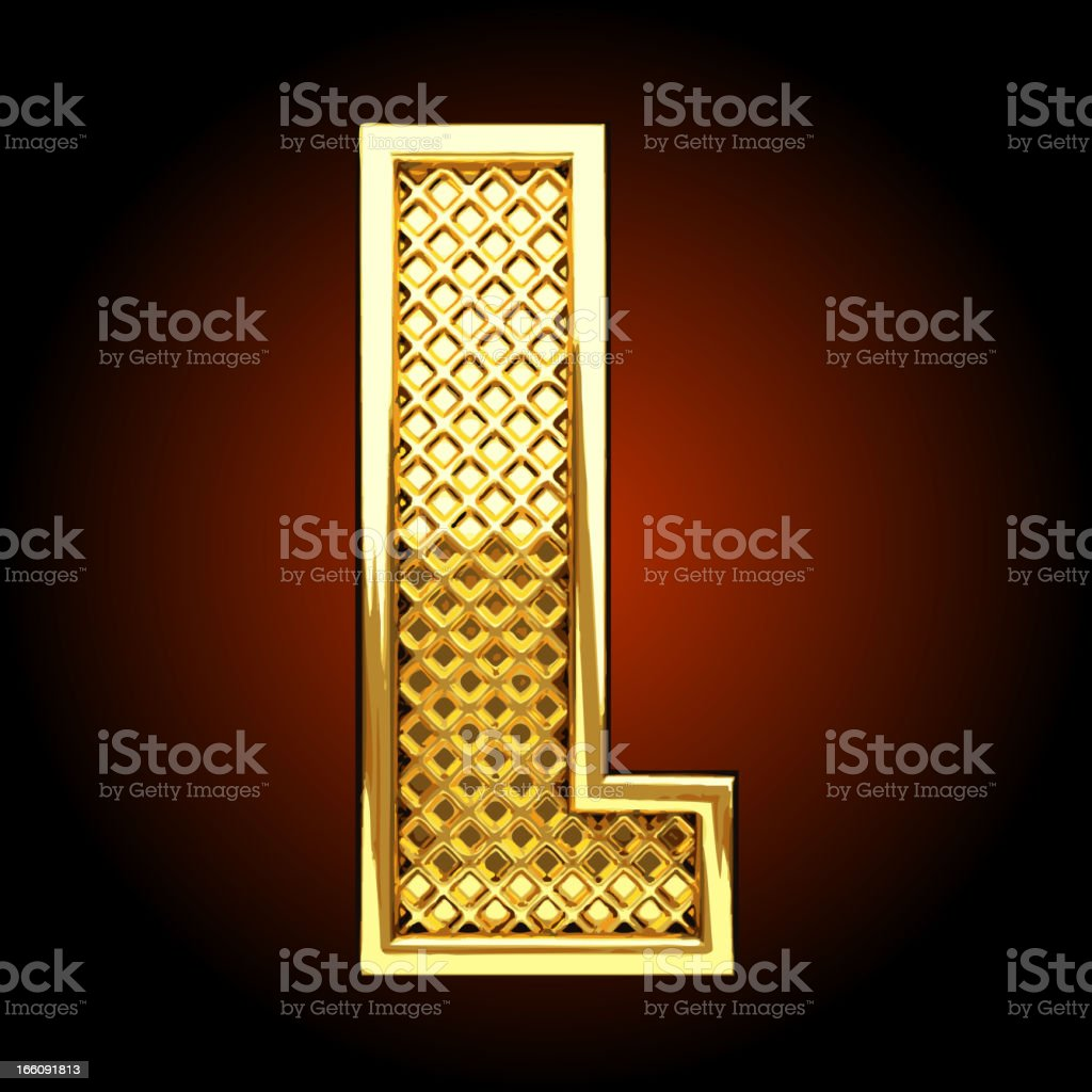 Vector golden letter L royalty-free stock vector art