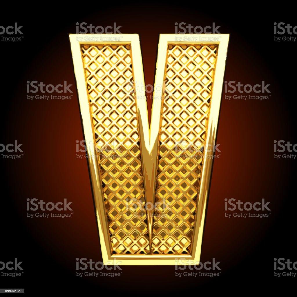 Vector golden letter V royalty-free stock vector art