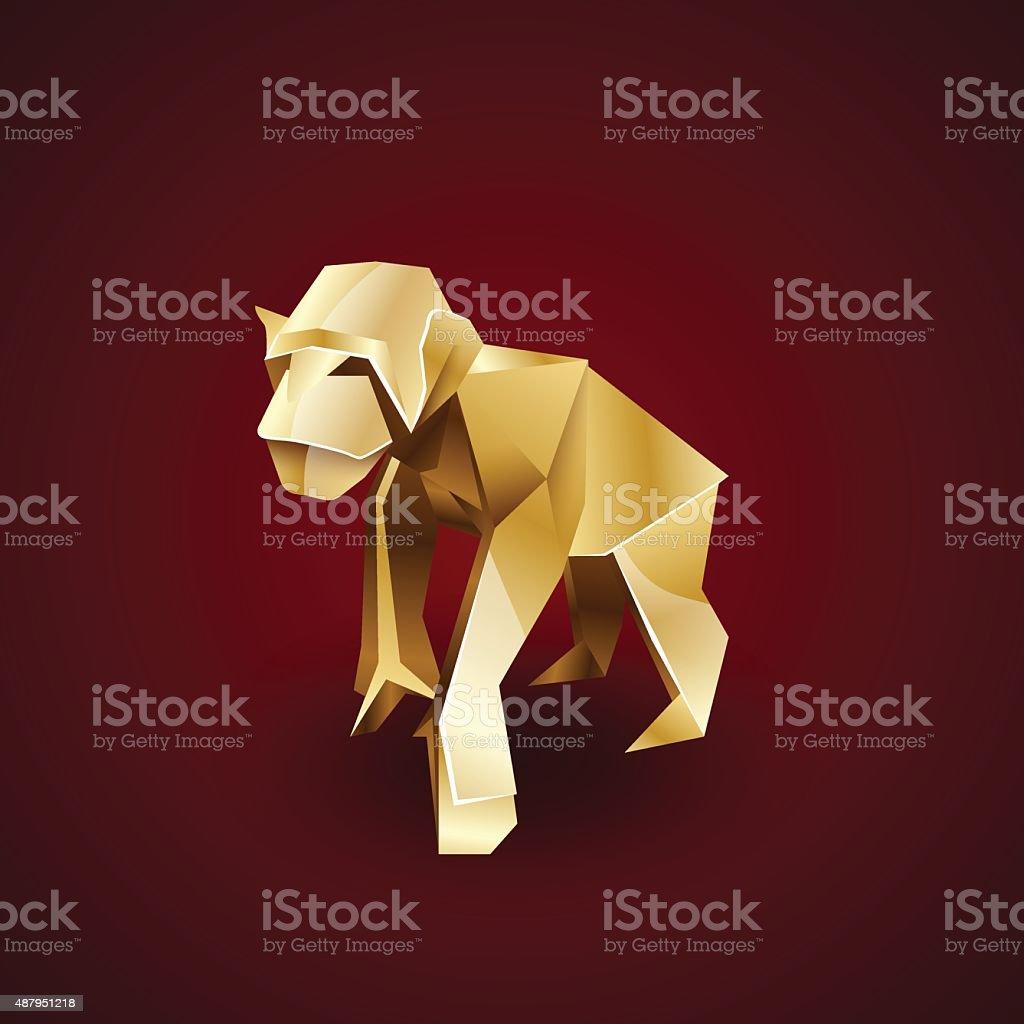 vector golden origami monkey chimp vector art illustration