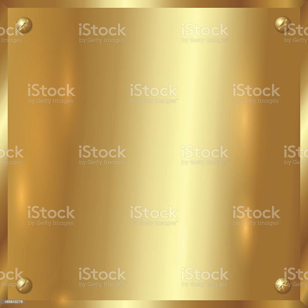 Vector golden plate with screws vector art illustration