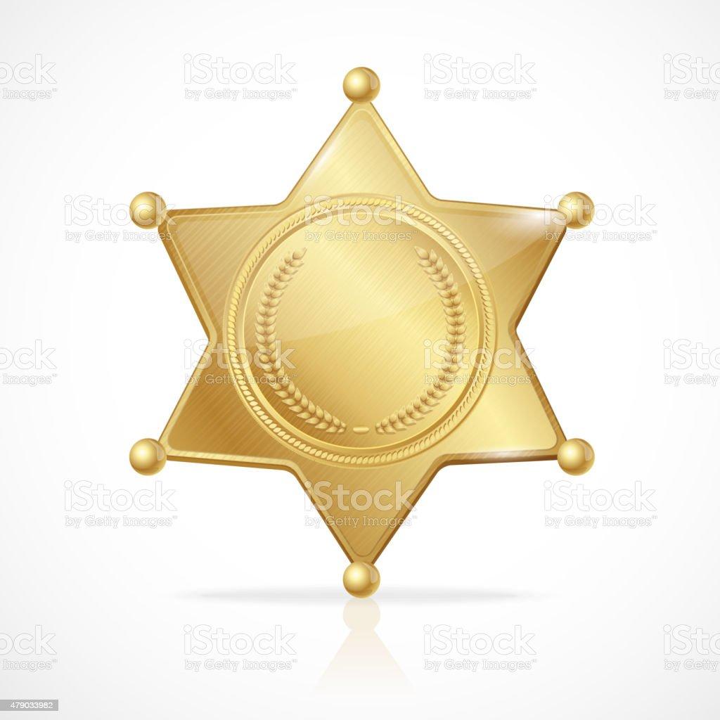 Vector golden sheriff badge star empty vector art illustration