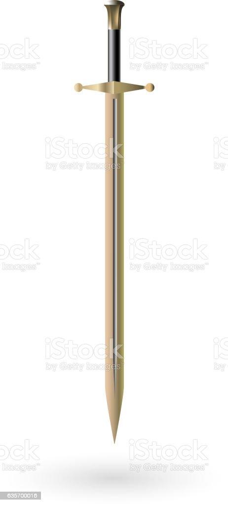 Vector golden sword on white vector art illustration