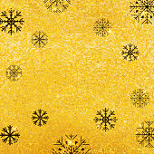 Vector golden texture background with snowflake. Realistic empty design for