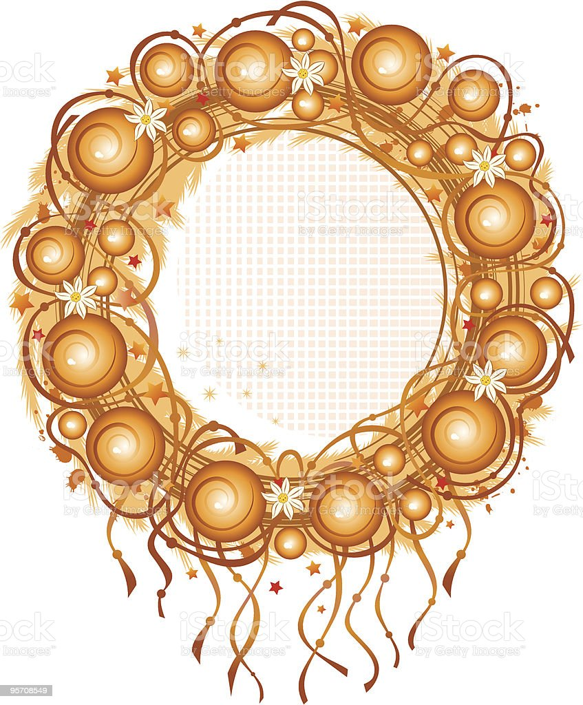 Vector golden wreath with a balls vector art illustration
