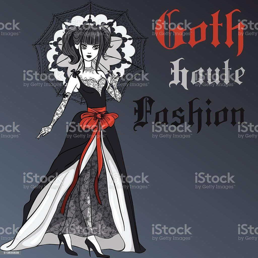 Vector Goth girl in black dress with umbrella vector art illustration