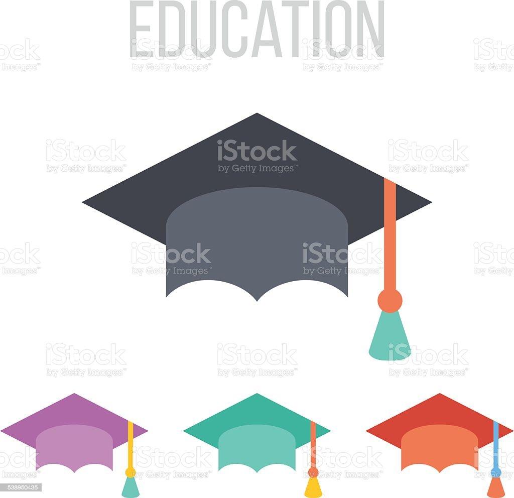 Vector graduation hat icons vector art illustration