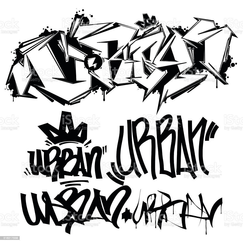 Vector Graffiti Tags - writing vector art illustration