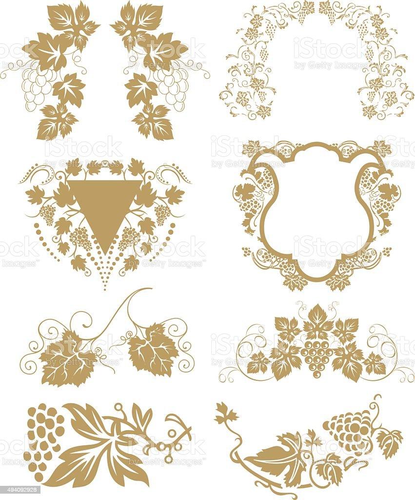 Vector - grape element vector art illustration