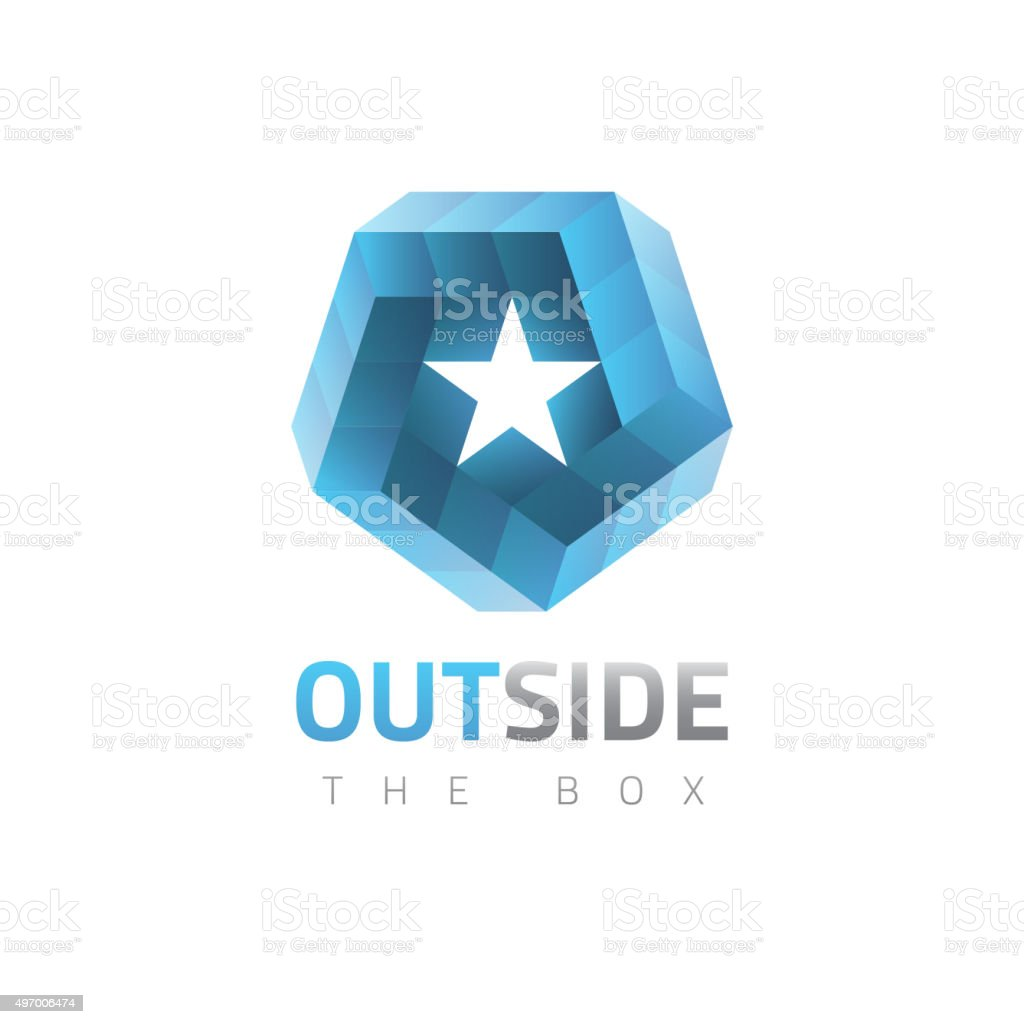 Vector graphic abstract symbol, impossible object with 3D effect vector art illustration