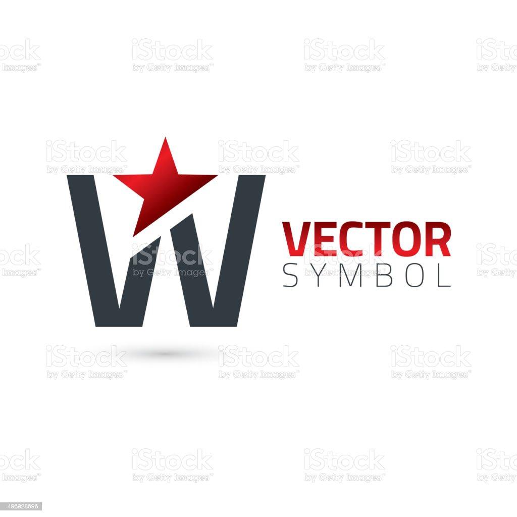 Vector graphic alphabet symbol with star element / Letter W vector art illustration