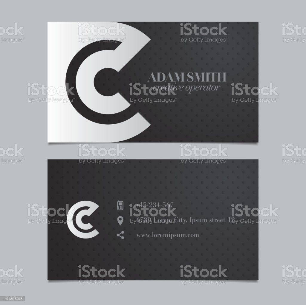 Vector graphic business card with alphabet symbol / letter C vector art illustration