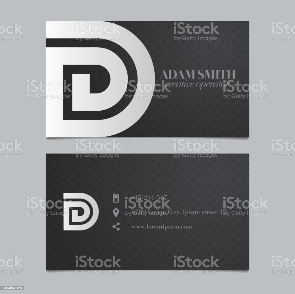 Vector graphic business card with alphabet symbol / letter D vector art illustration