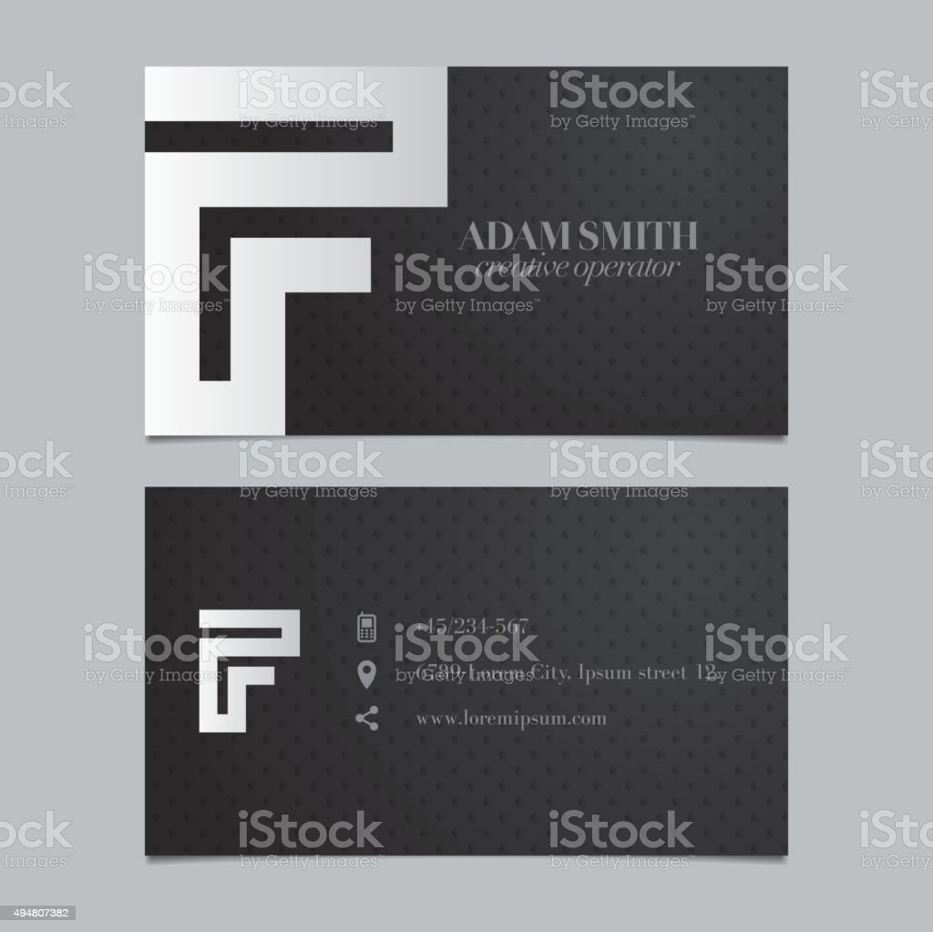 Vector graphic business card with alphabet symbol / letter F vector art illustration