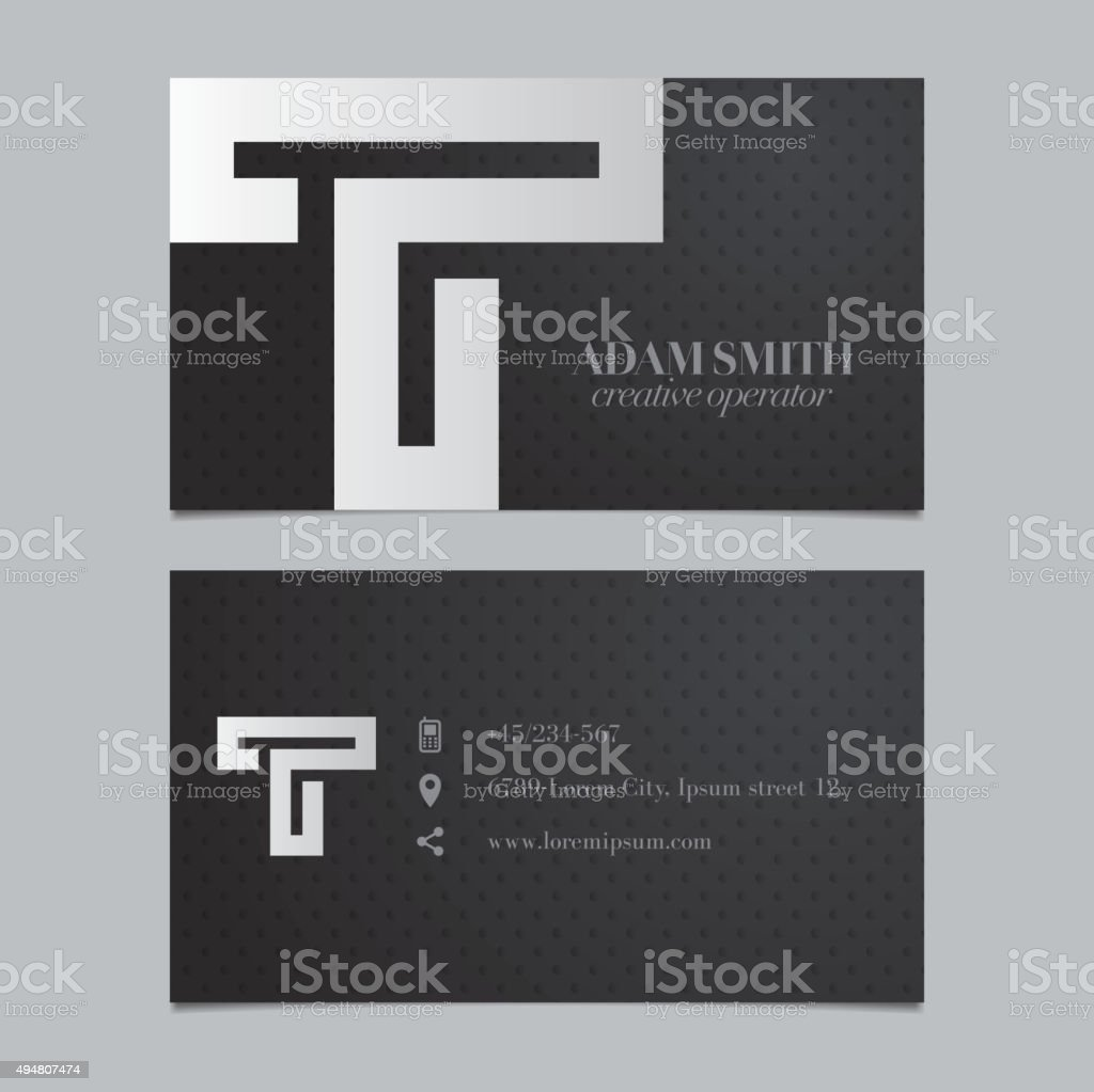 Vector graphic business card with alphabet symbol / letter T vector art illustration