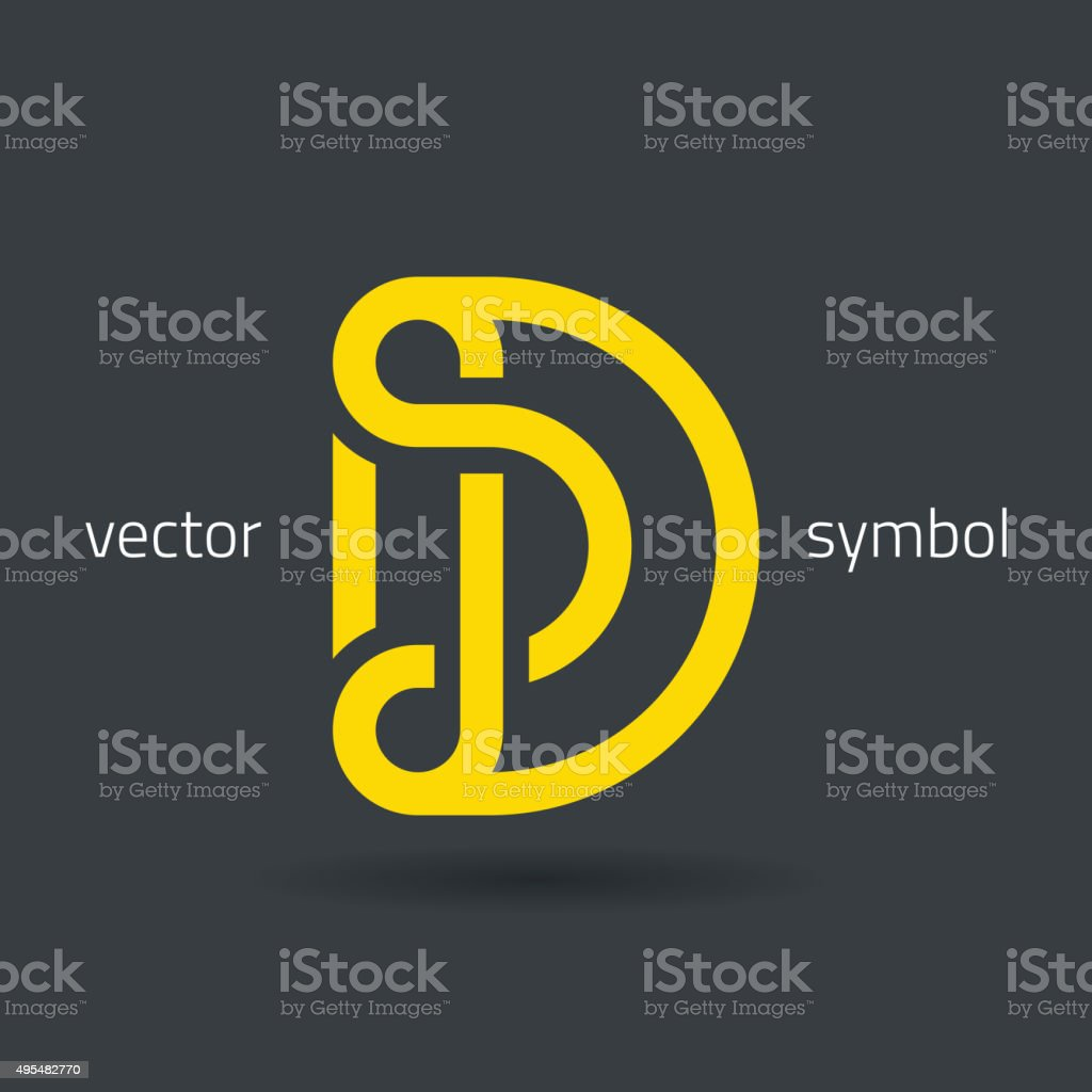 Vector graphic creative line alphabet symbol / Letter D vector art illustration