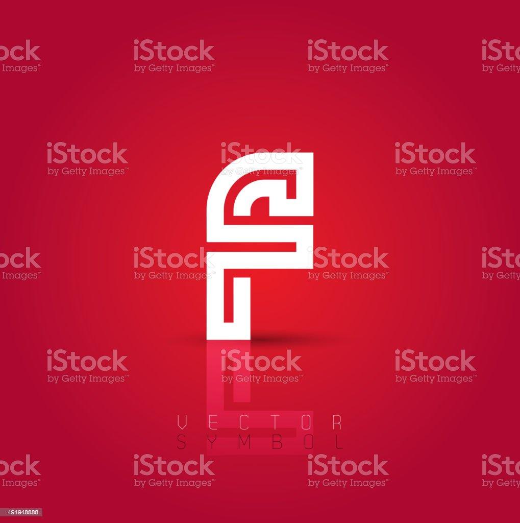 Vector graphic creative line alphabet symbol / Letter F vector art illustration