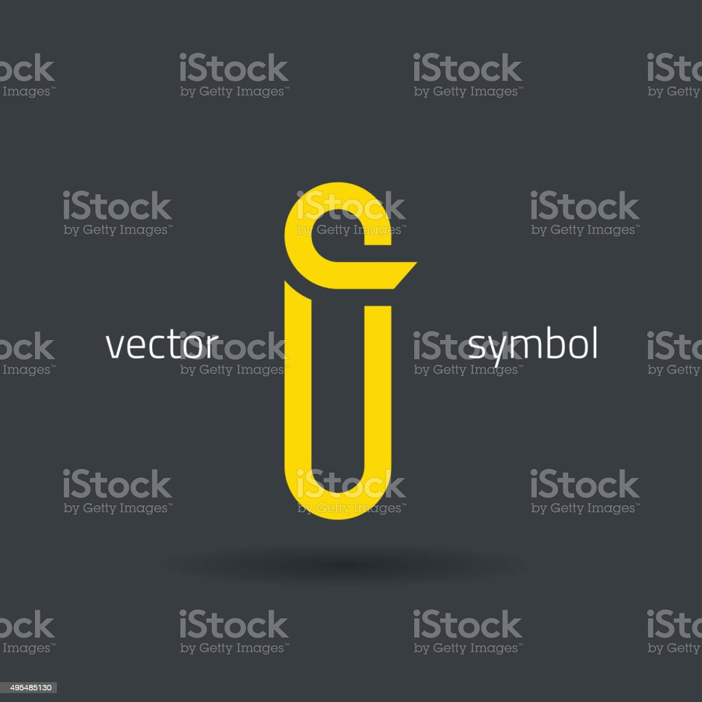 Vector graphic creative line alphabet symbol / Letter I vector art illustration