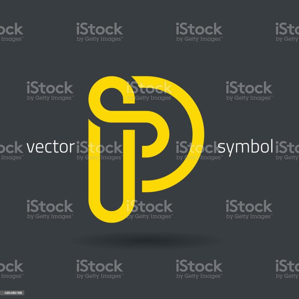 Vector graphic creative line alphabet symbol / Letter P vector art illustration