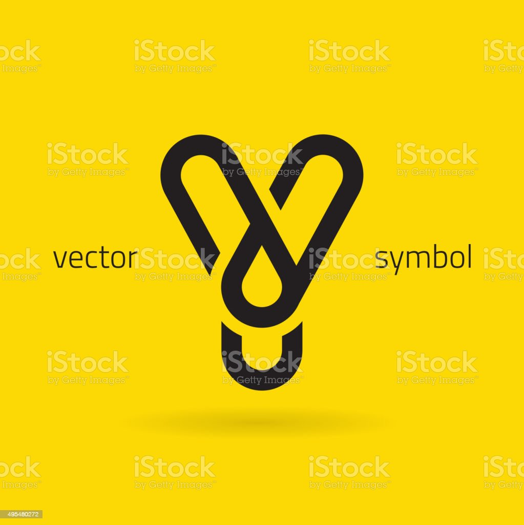 Vector graphic creative line alphabet symbol / Letter Y vector art illustration