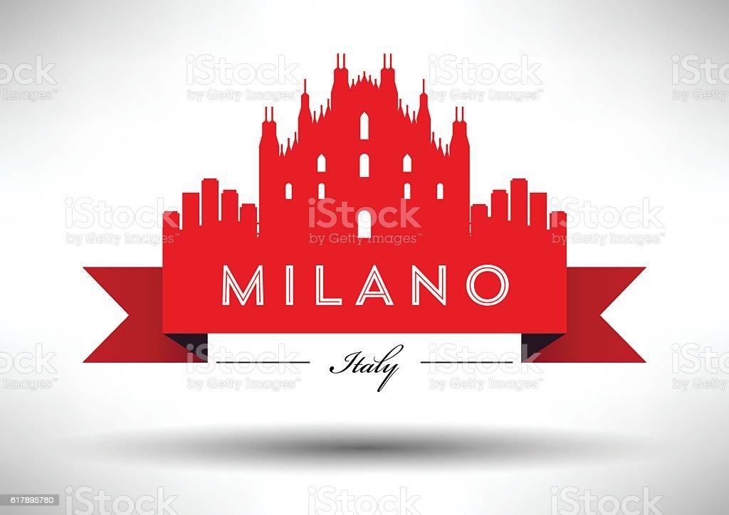 Vector Graphic Design of Milano City Skyline vector art illustration