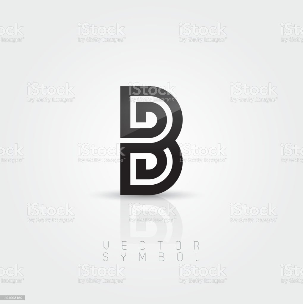 Vector graphic elegant and creative line alphabet / Letter B vector art illustration