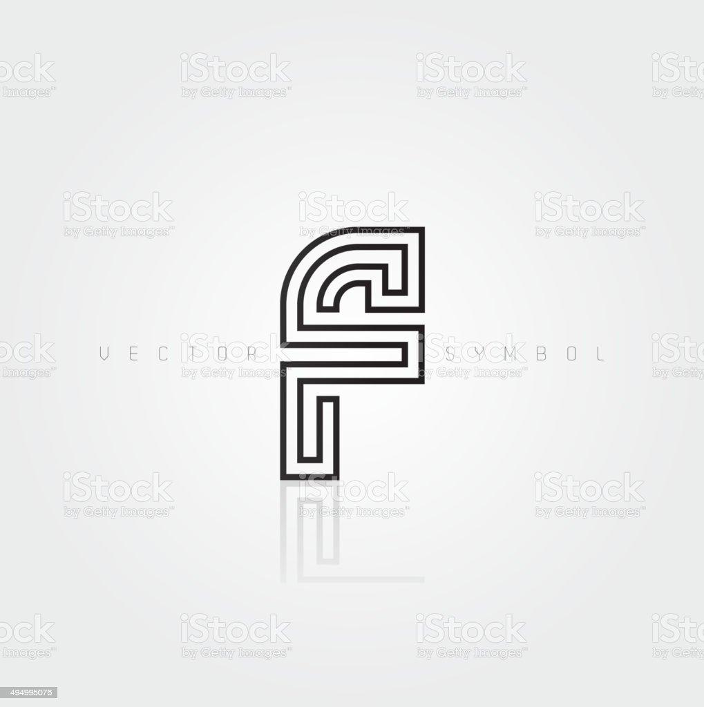 Vector graphic elegant and creative line alphabet / Letter F vector art illustration