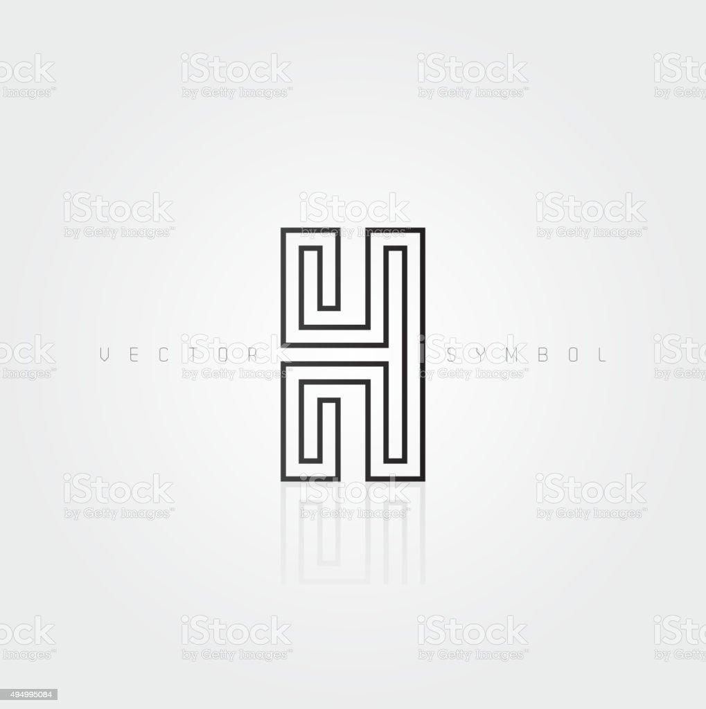 Vector graphic elegant and creative line alphabet / Letter H vector art illustration