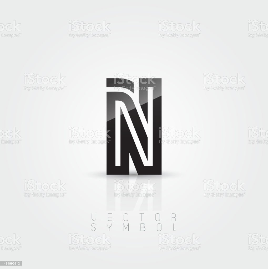 Vector graphic elegant and creative line alphabet / Letter N vector art illustration