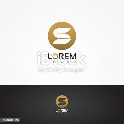 Vector Graphic Elegant S Symbol In Golden Circle Stockvectorbeelden